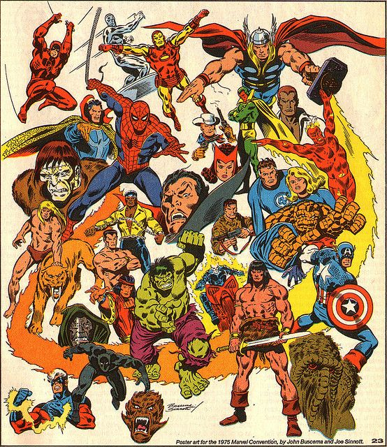 1975 poster by John Buscema shows many new faces in the expanding MU